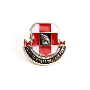 Red and white metal badge