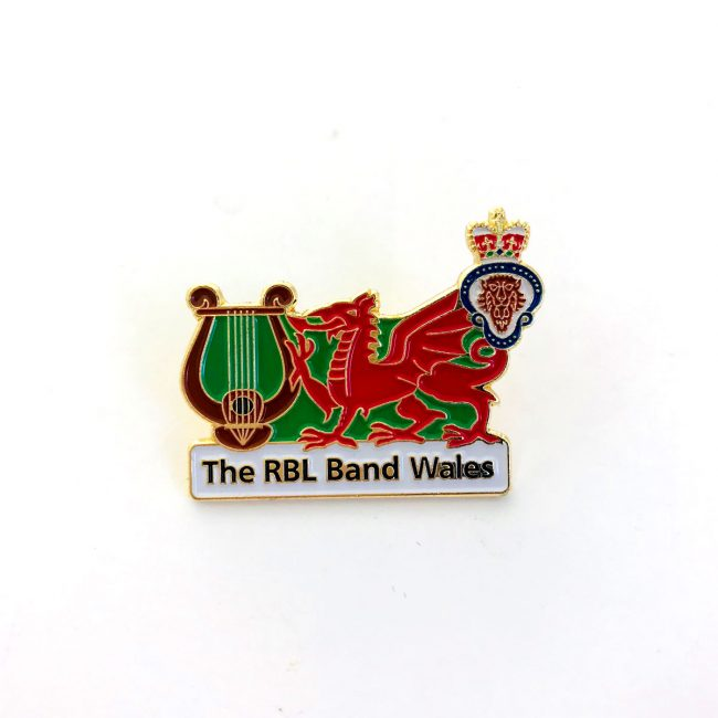 RBL Wales red dragon logo on metal badge