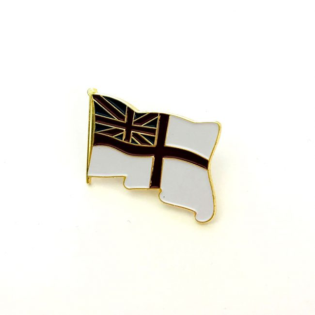 White flag with Great Britain flag metal badge