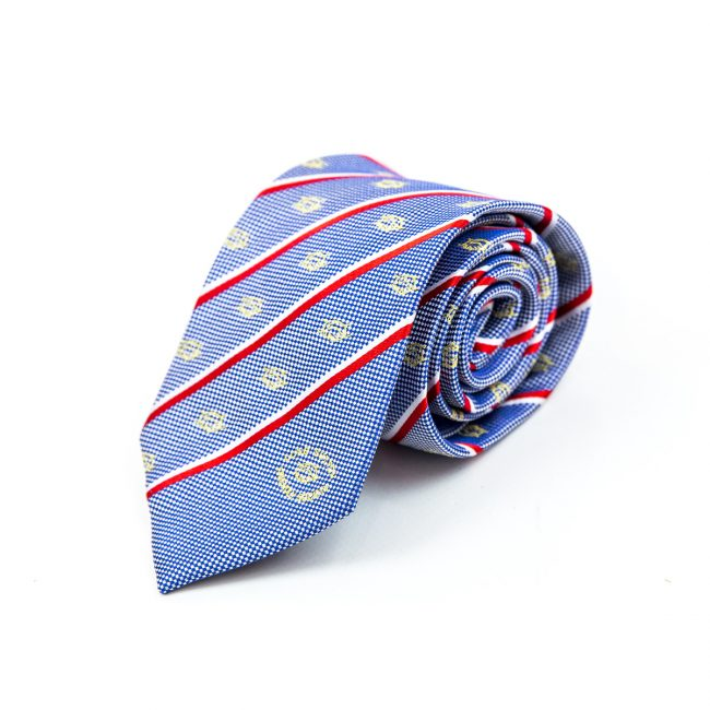 Blue tie rolled up with red and white stripe