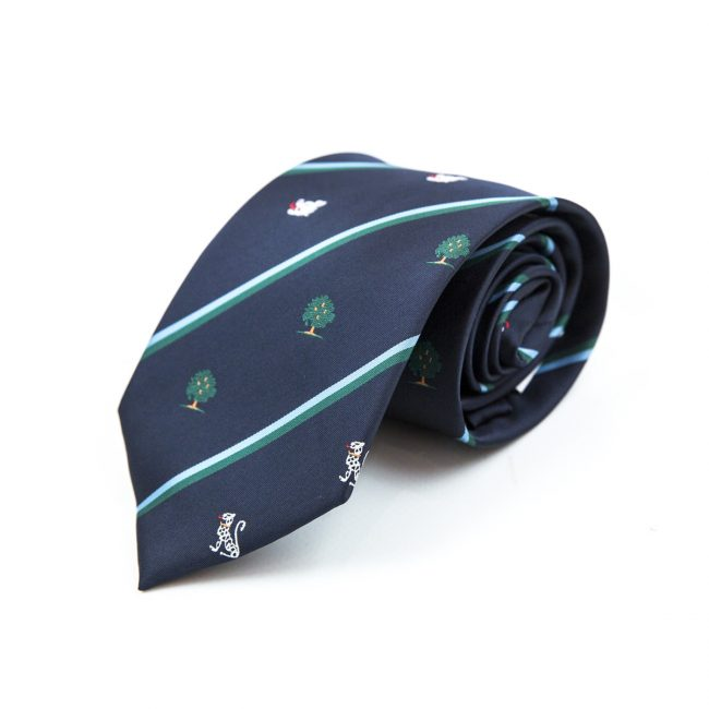 Dark tie rolled up with tree embroidery and green stripes