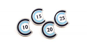 Custom award badges in blue with numbers