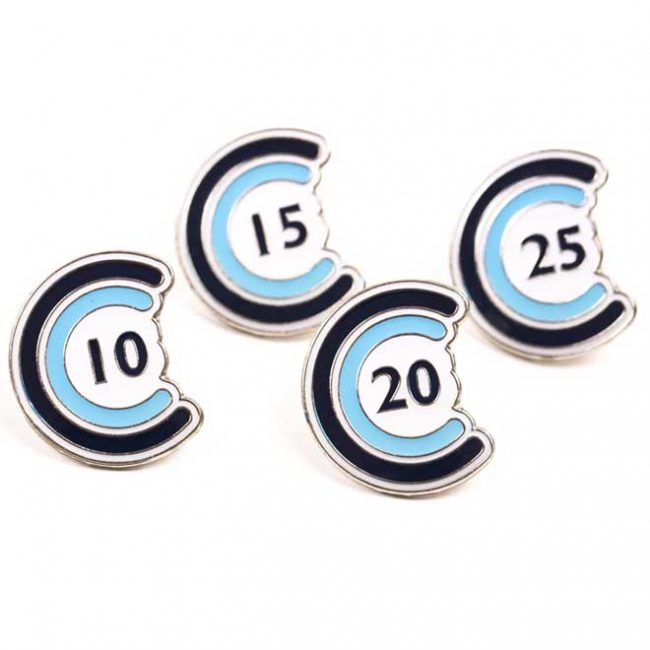 Blue badges with numbers on