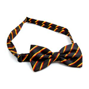 Black bow tie with red and yellow stripes