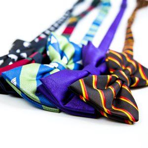 Line of five bow ties