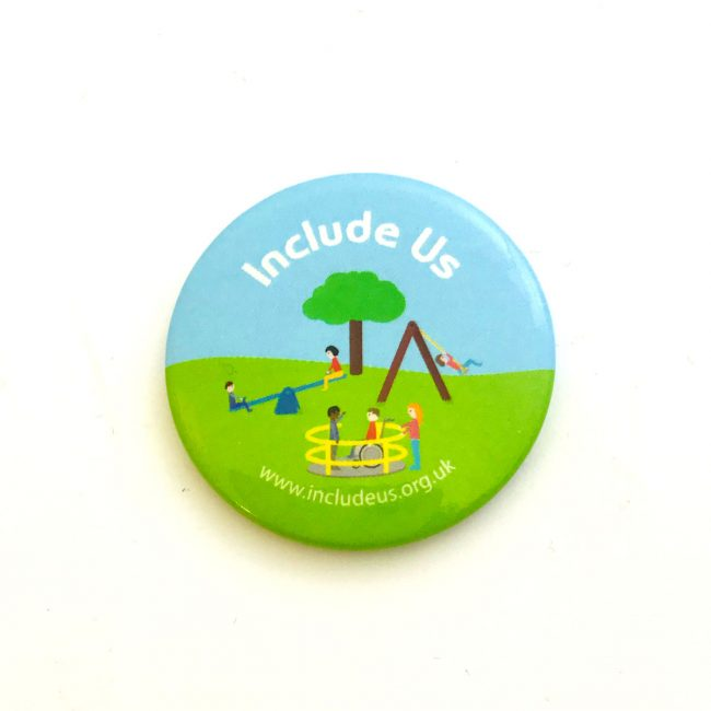 Include Us button badge with colourful drawing