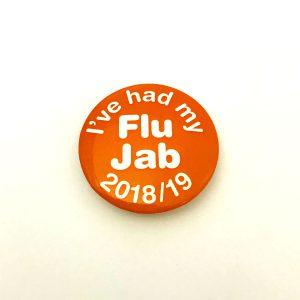 Flu Jab orange button badge