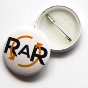 RAR Button Badge with front and back showing