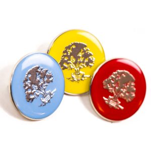 School house badges with three colours in blue, yellow and red with gold tree