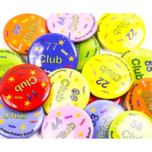 Colourful button badges