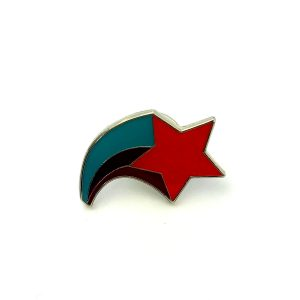 Red shooting star with green and black metal badge