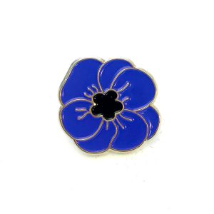 Blue rose metal pin badge