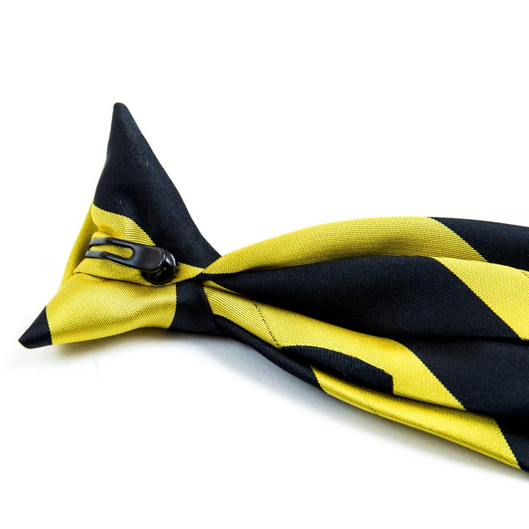 Black and yellow tie with clip on