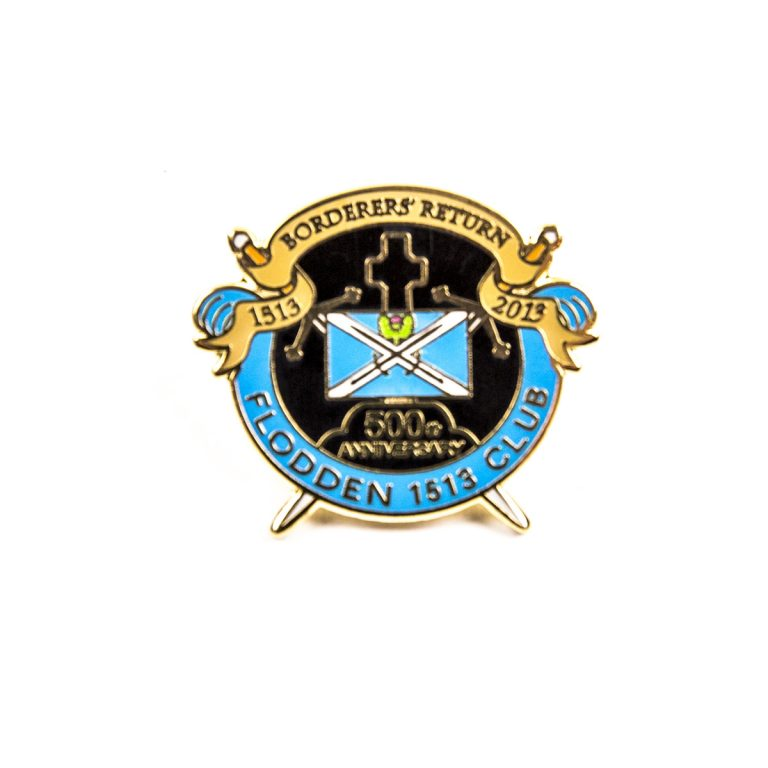 Custom club metal badge with blue and yellow
