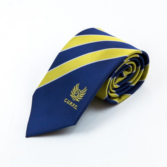 Blue rolled tie with thick yellow stripes
