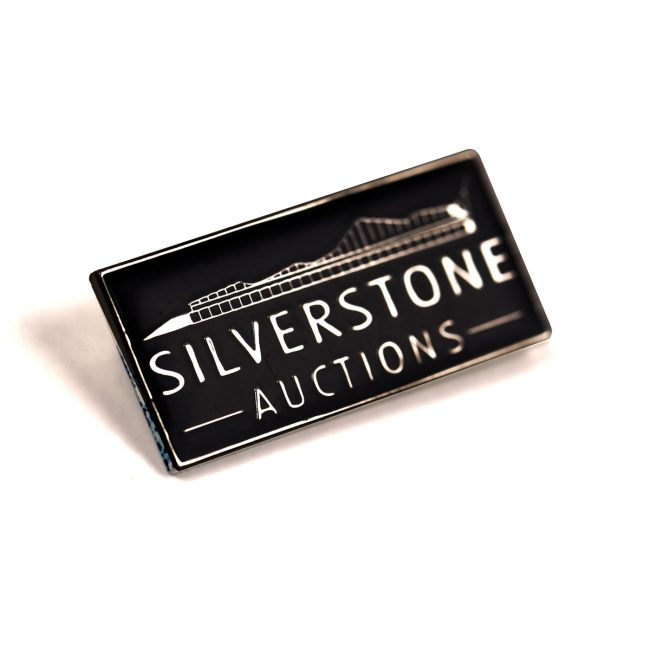 Rectangle black badge with Silverstone Auctions logo