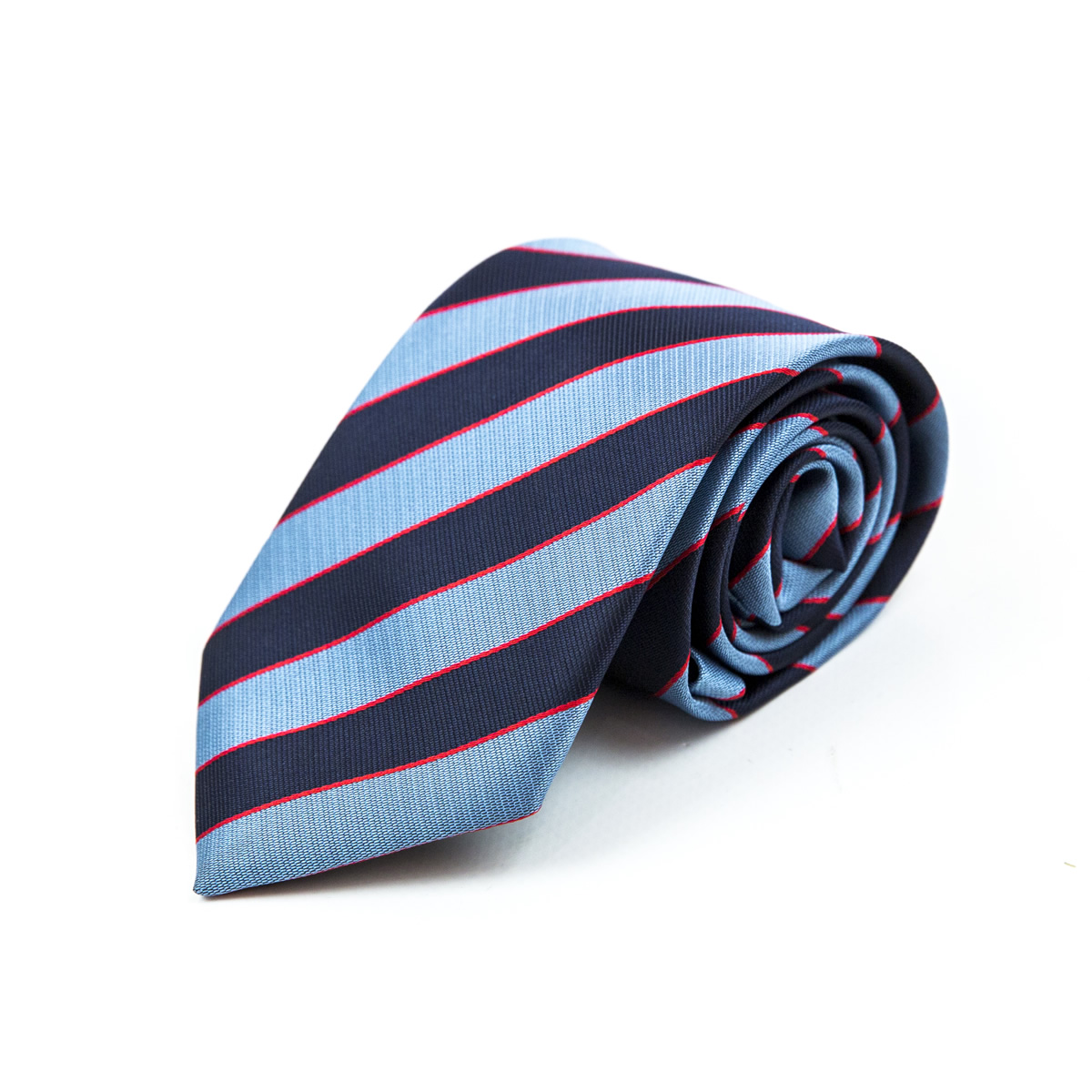 Blue and navy blue stripe tie rolled up