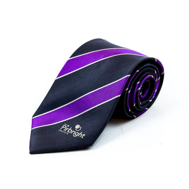 Black and purple stripe tie rolled up