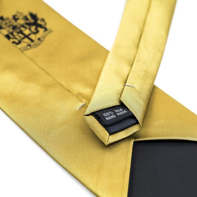 Silk yellow tie close up