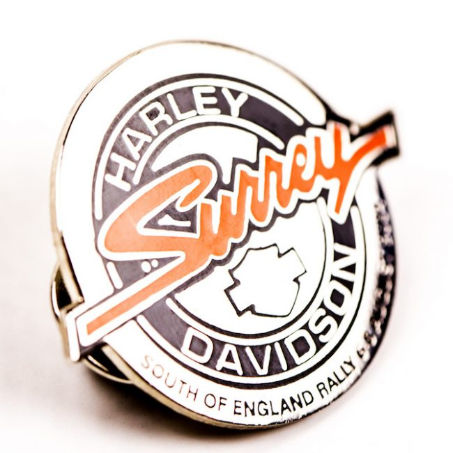 Harley Davidson round badge close up