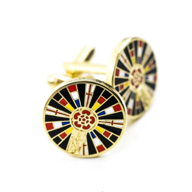 Cold circle cufflinks with red rose print