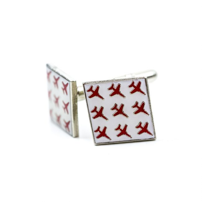 Square white cufflinks with red airplanes on