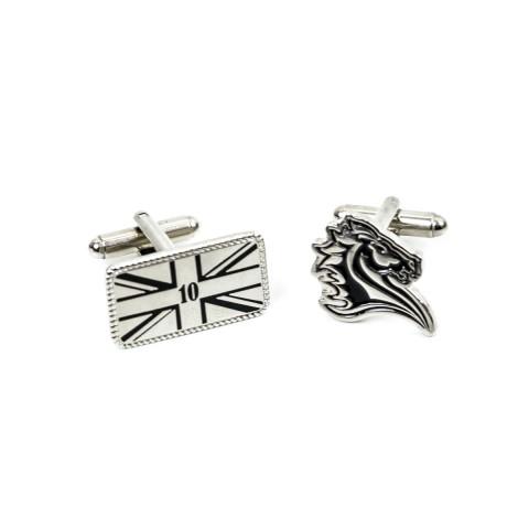 Personalise Soft Enamel Silver cufflinks 8918
