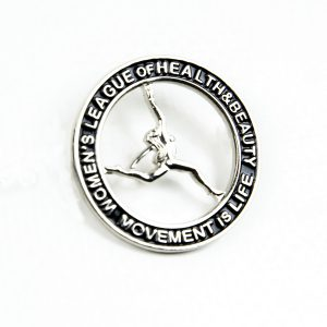 Circle black badge with woman athlete