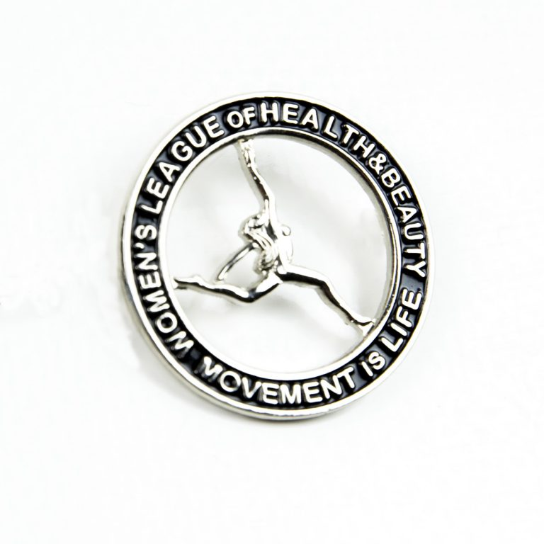 Circle black badge with woman athlete