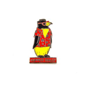 Penguin wearing red shirt badge and personalised name
