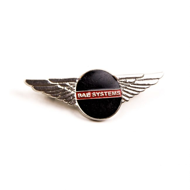 BAE logo badge circle with silver wings