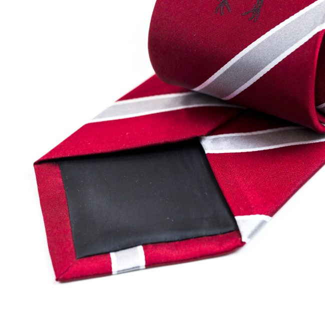 Red and white stripe tie with black inner lining