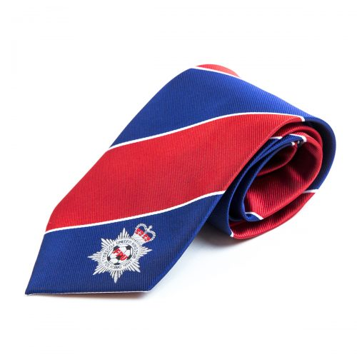 Blue and red stripe tie rolled up with white embroidered custom logo