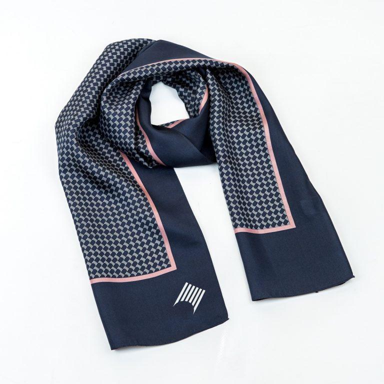 Navy blue and pink ladies scarves