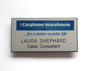 Carphone Warehouse staff name badge personalised