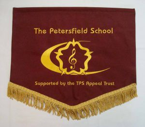 Brown and yellow school pennants with school logo