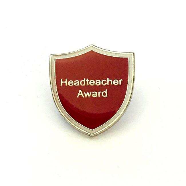 Red Headteacher Award metal logo