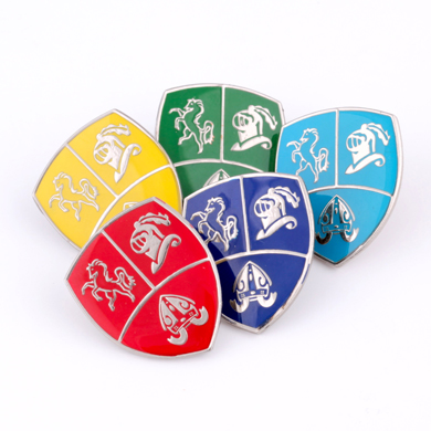 Group of colourful school badges