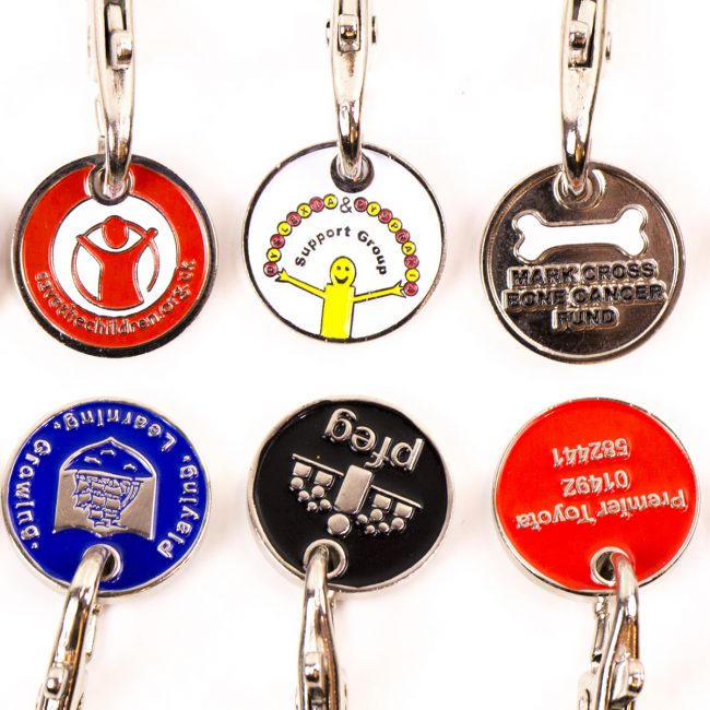 personalised trolley coin, custom trolley coins, charity Trolley Coins