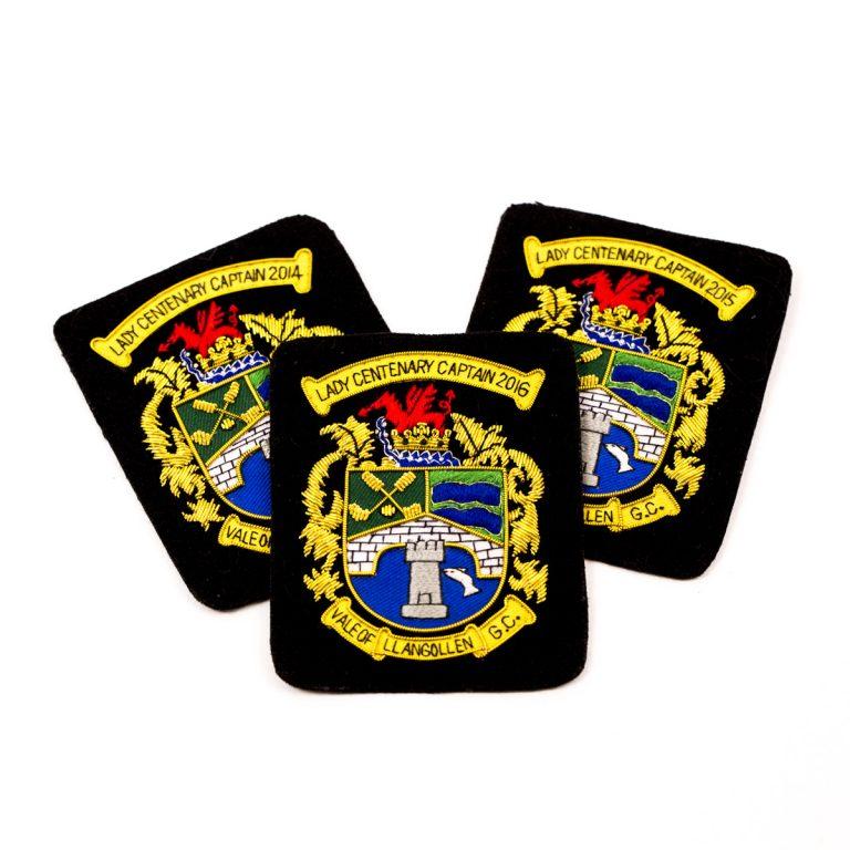 custom embroidered badges, personalised embroidered badges, centenary embroidery badges