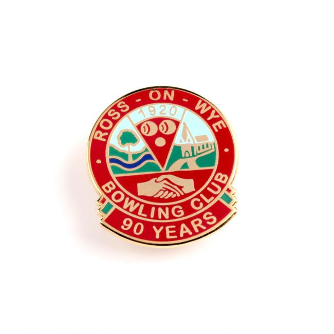 Red circle badge with bowling club logo and 90 years writing on