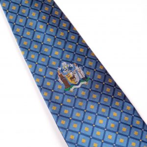 Blue logo with yellow diamonds and embroidered logo