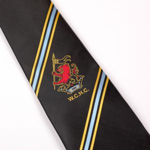 Black tie with blue and yellow stripes corporate ties