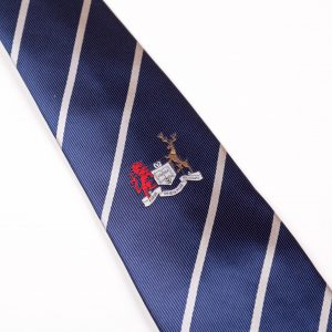 Dark blue tie with white stripes rugby club ties