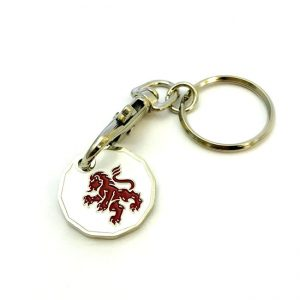 Trolley coin with white face and red dragon