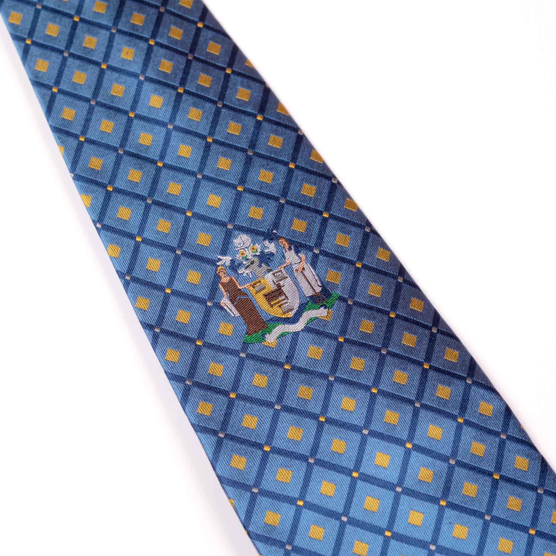 Blue tie with diamonds and logo