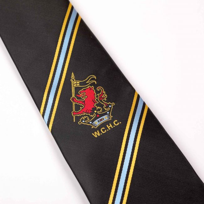 Black tie with blue and yellow stripes and WCHC logo