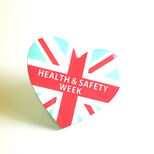 Heart Shaped Health & Safety Week Printed Badge