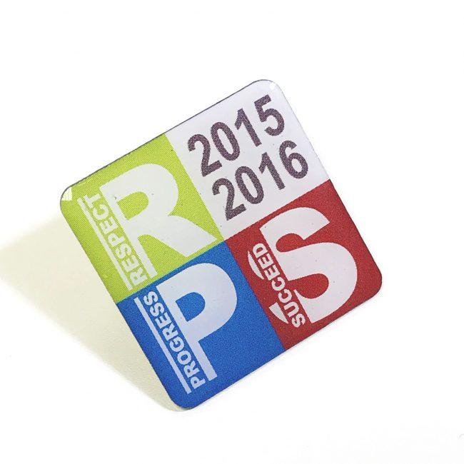 Square printed Pin Badges