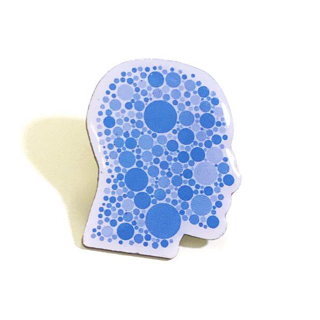 Blue Head Shape Printed Badge